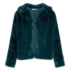Willow and Clay Faux Fur Teal Jacket Coat S